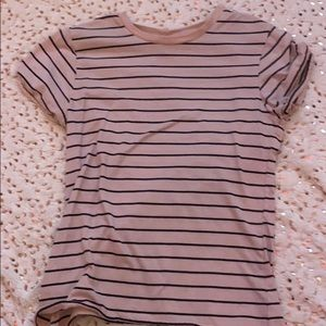 Striped pink and black tee